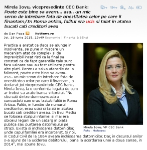 Mirela Iovu CEC Bank - Uciderea debitorilor
